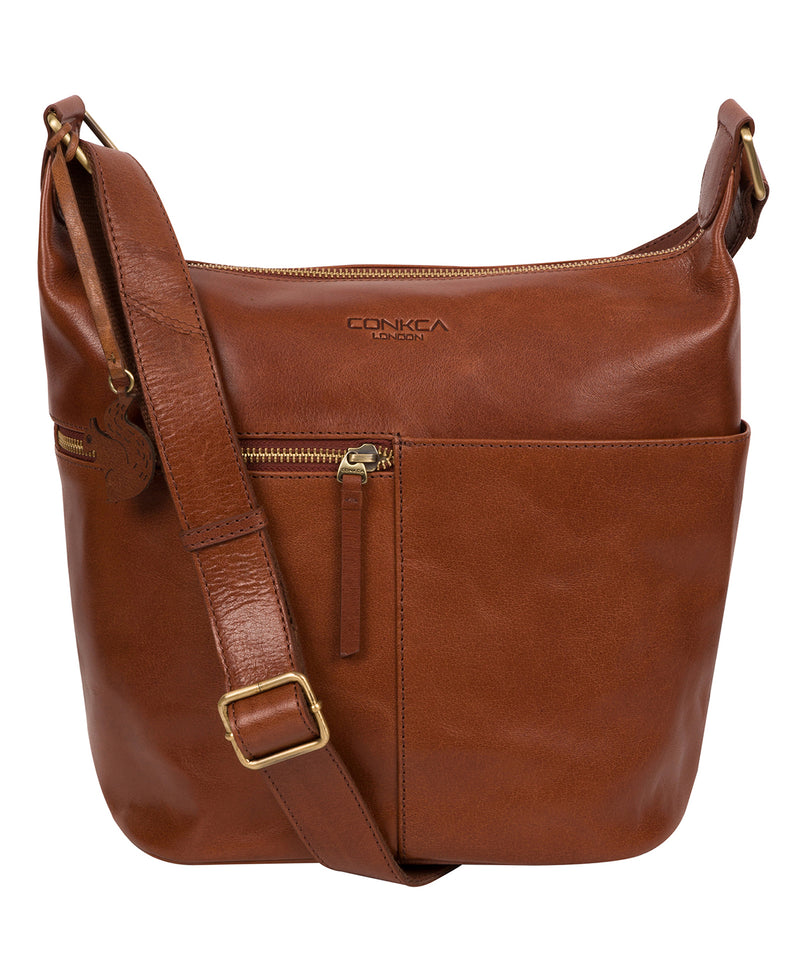 'Kristin' Conker Brown Leather Shoulder Bag image 1