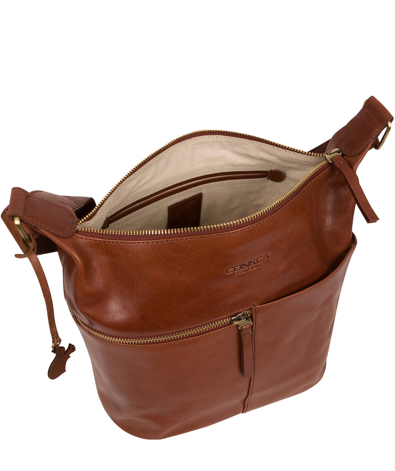 'Kristin' Conker Brown Leather Shoulder Bag image 5