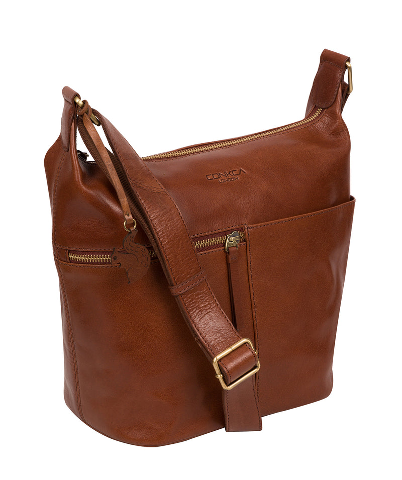 'Kristin' Conker Brown Leather Shoulder Bag image 6