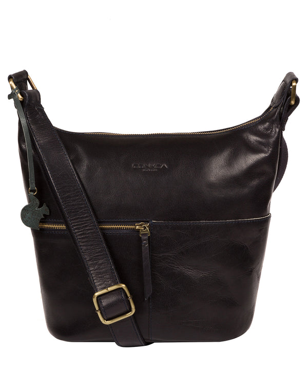 'Kristin' Navy Leather Shoulder Bag image 1