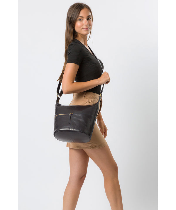 'Kristin' Navy Leather Shoulder Bag image 2