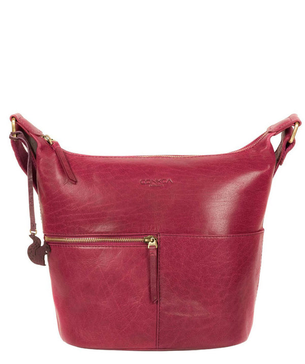 'Kristin' Orchid Leather Shoulder Bag