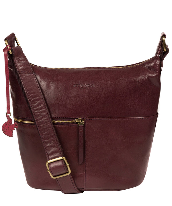 'Kristin' Plum Leather Shoulder Bag image 1