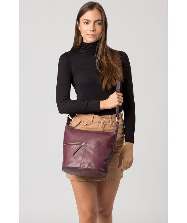 'Kristin' Plum Leather Shoulder Bag image 2