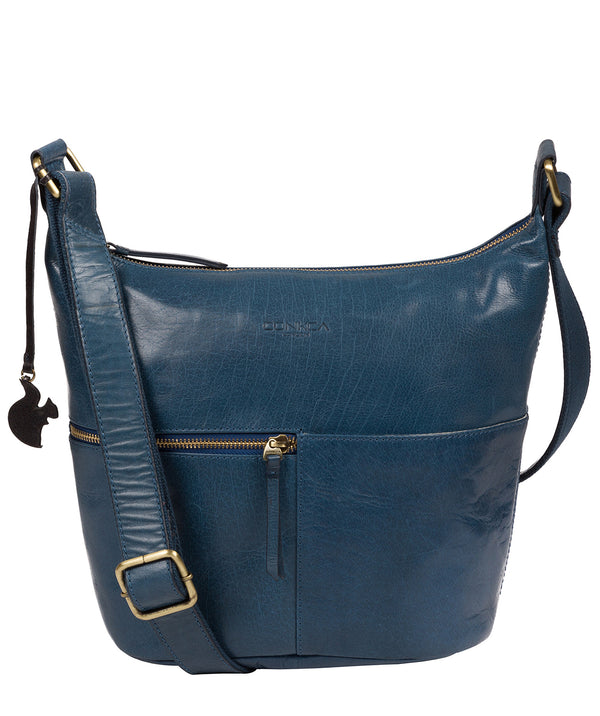 'Kristin' Snorkel Blue Leather Shoulder Bag image 1