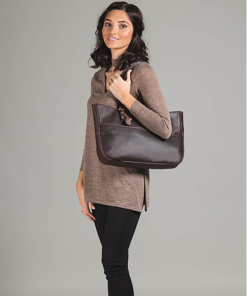 'Heron' Vintage Brown Handcrafted Leather Tote Bag Pure Luxuries London