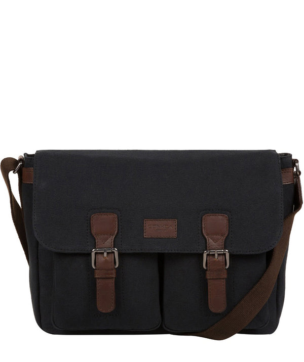 'Newington' Vintage Black Canvas & Leather Messenger Bag image 1