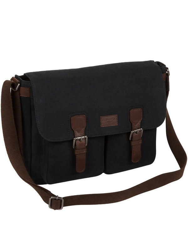 'Newington' Vintage Black Canvas & Leather Messenger Bag image 3