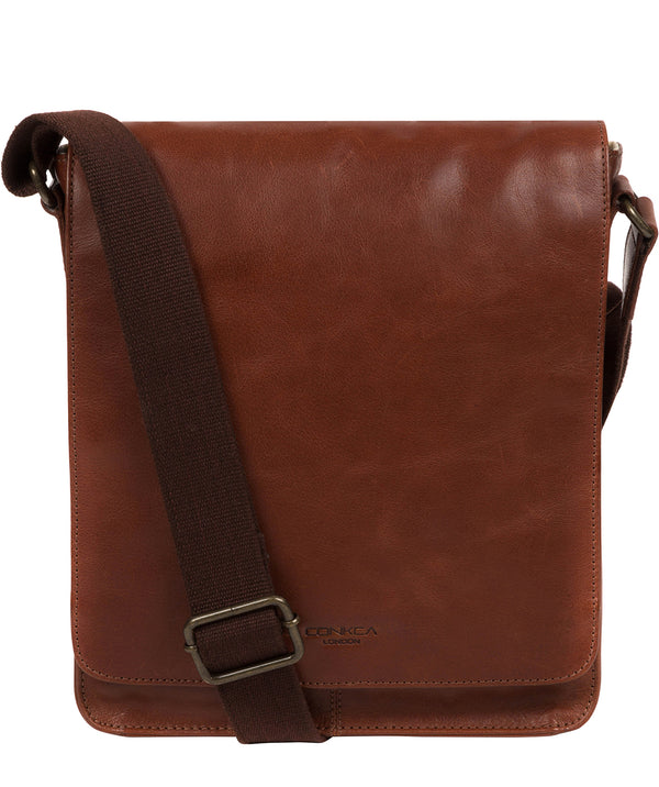 'Bowen' Conker Brown Leather Cross Body Bag image 1