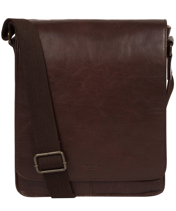 'Bowen' Dark Brown Leather Cross Body Bag image 1