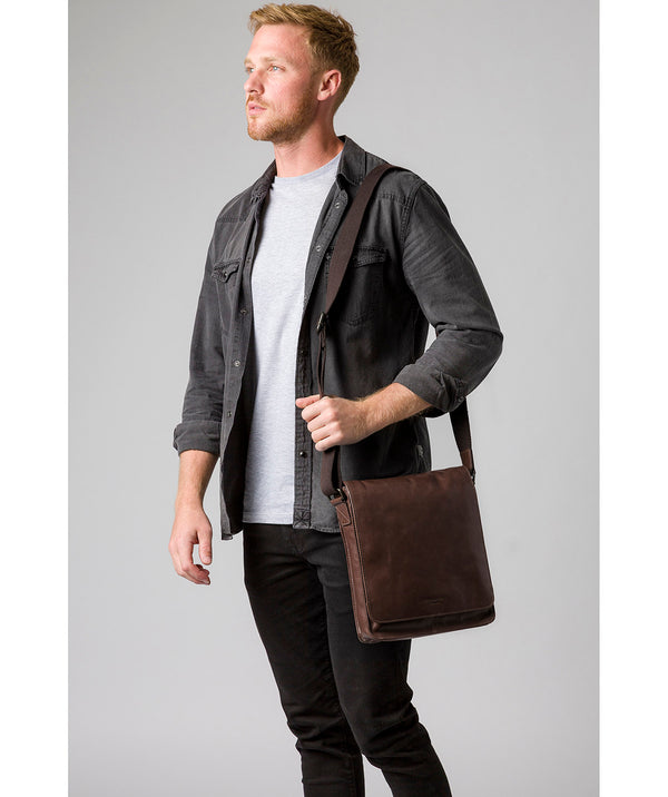 'Bowen' Dark Brown Leather Cross Body Bag image 2