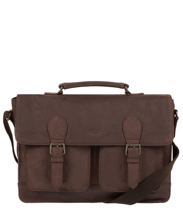 'Pinter' Vintage Brown Leather Work Bag image 1