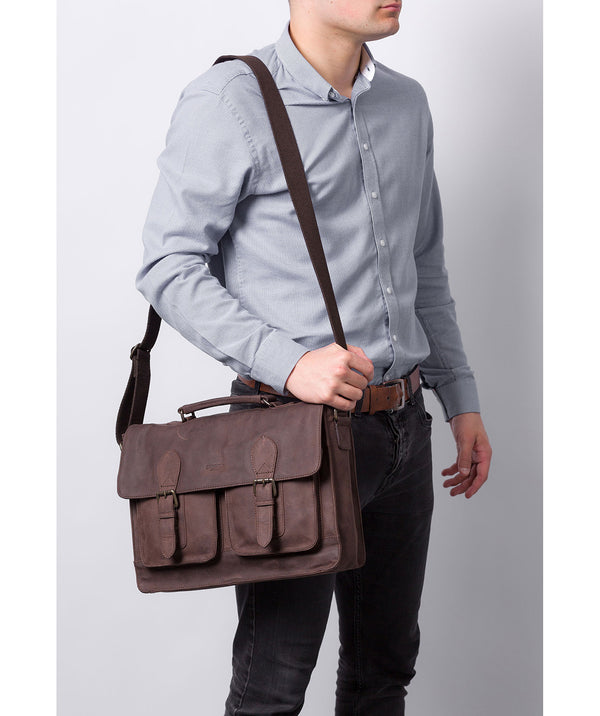 'Pinter' Vintage Brown Leather Work Bag image 2