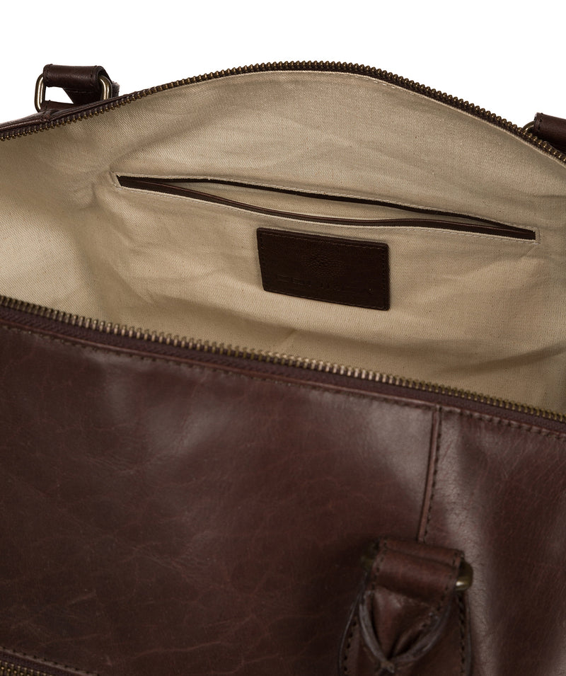 'Storey' Dark Brown Leather Holdall image 4