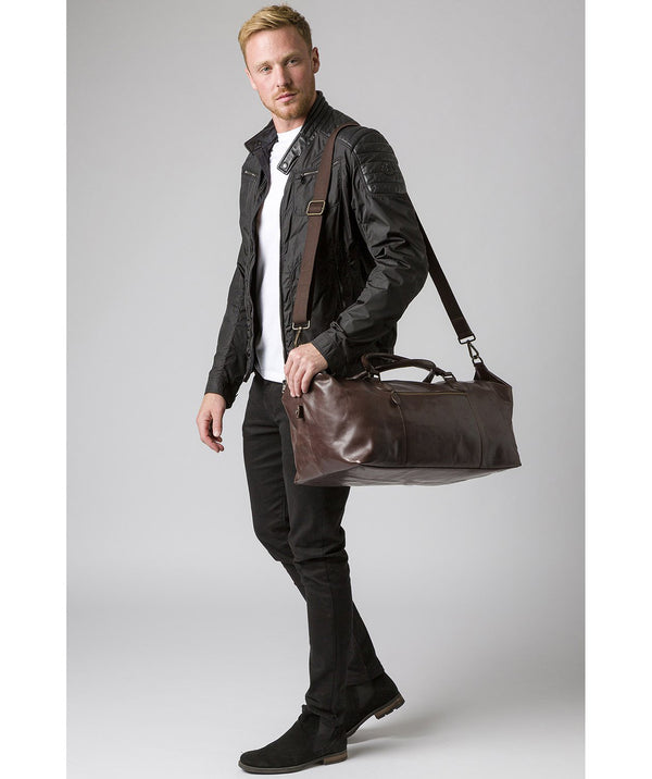 'Storey' Dark Brown Leather Holdall image 2