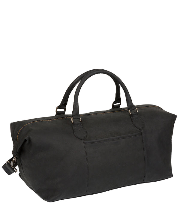 'Storey' Vintage Black Leather Holdall