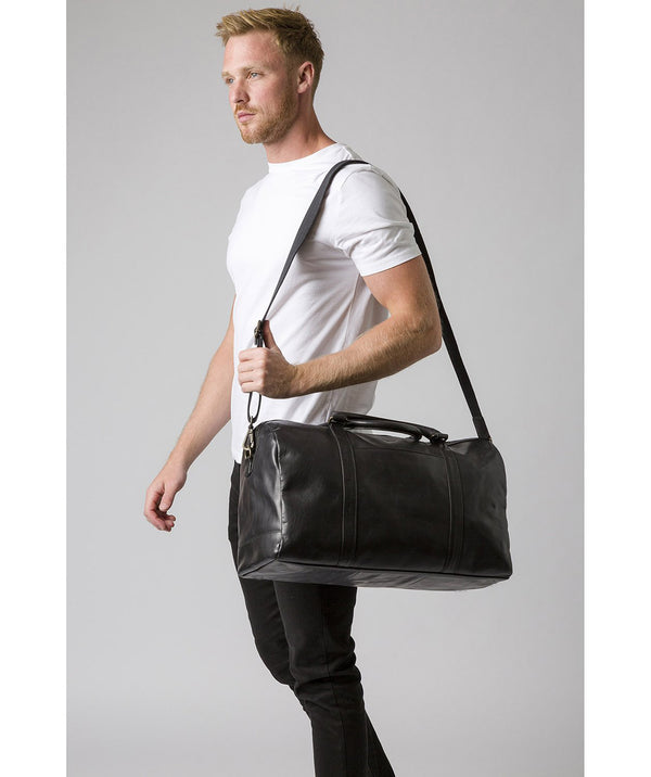 'Orton' Black Leather Holdall