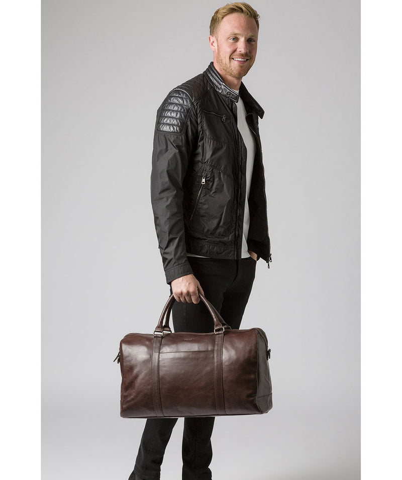 'Orton' Dark Brown Leather Holdall