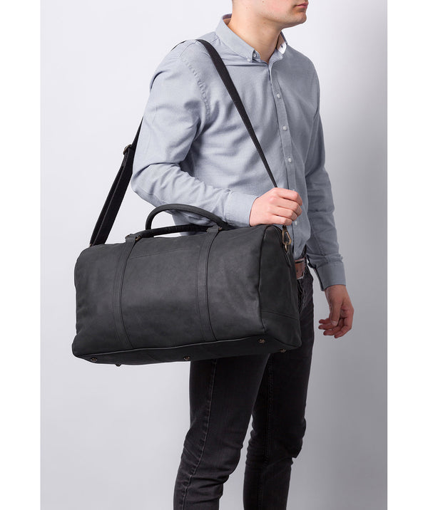 'Orton' Vintage Black Leather Holdall image 2