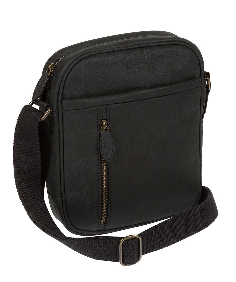 'Lowe' Vintage Black Leather Cross Body Bag
