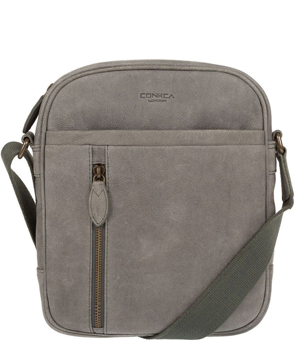 'Lowe' Vintage Grey Leather Cross Body Bag