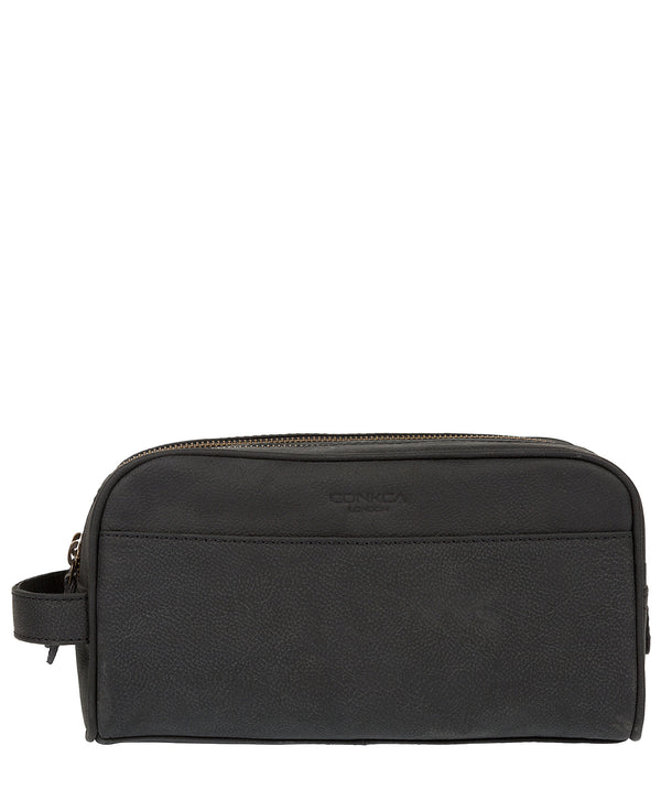 'Rudkin' Vintage Black Leather Washbag