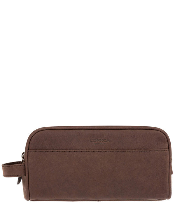 'Rudkin' Vintage Brown Leather Washbag