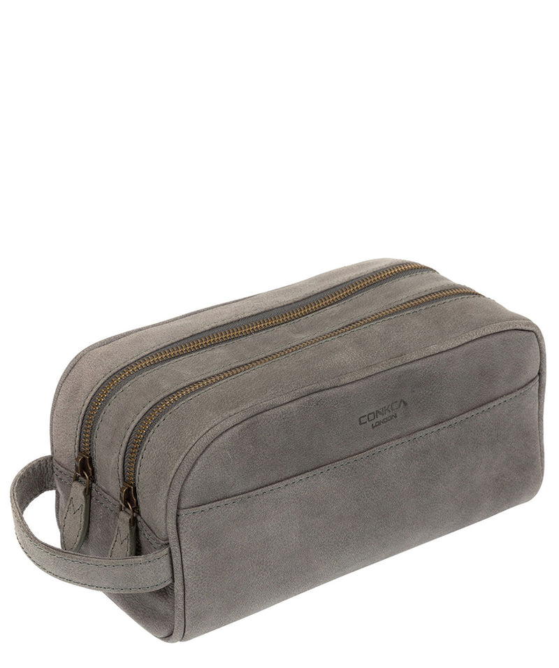 'Rudkin' Vintage Grey Leather Washbag