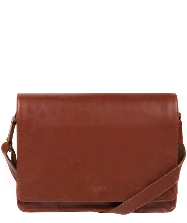 'Bolt' Conker Brown Leather Messenger Bag