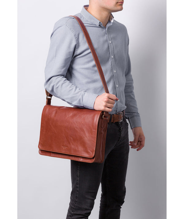 'Bolt' Conker Brown Leather Messenger Bag image 2