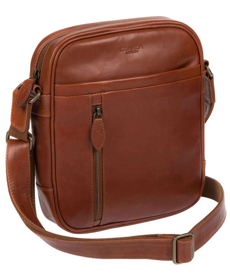 'Lowe' Conker Brown Leather Cross Body Bag