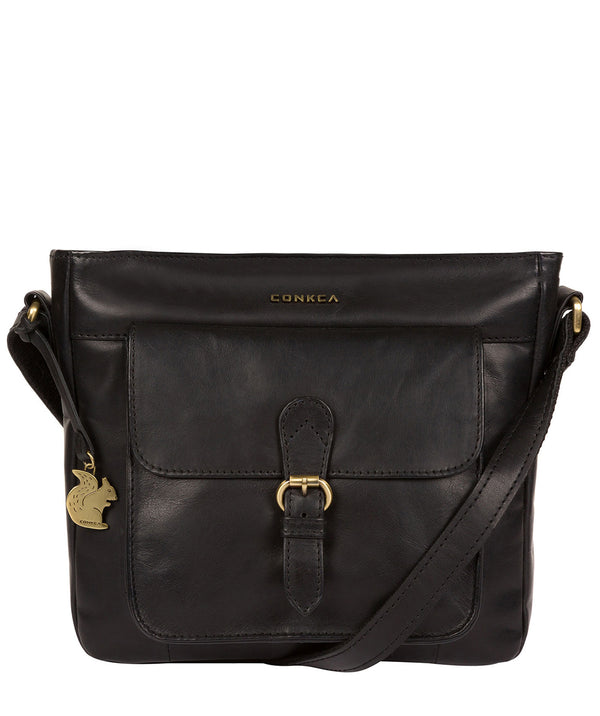 'Olina' Black Leather Cross Body Bag image 1