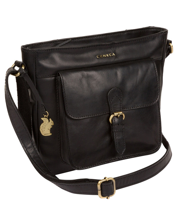 'Olina' Black Leather Cross Body Bag image 3