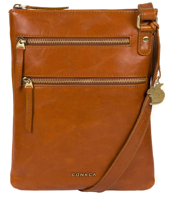'Spriza' Tan Leather Cross Body Bag image 1