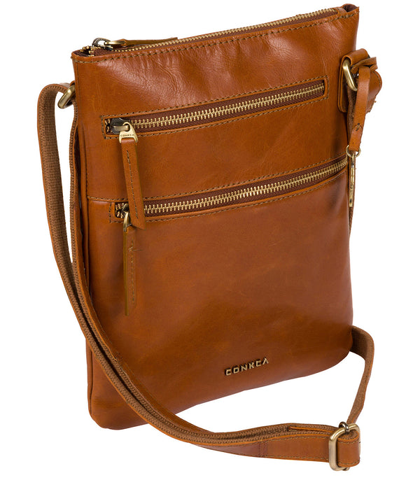 'Spriza' Tan Leather Cross Body Bag image 3