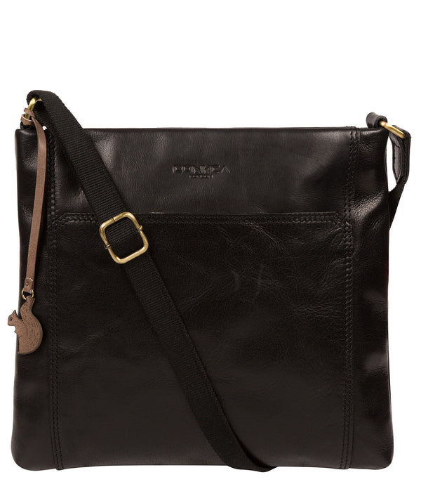 'Lina' Black Leather Cross Body Bag Pure Luxuries London