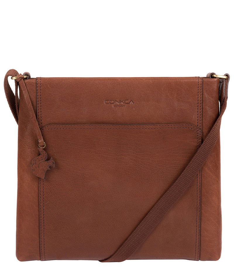 'Lina' Conker Brown Leather Cross Body Bag image 1