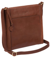 'Lina' Conker Brown Leather Cross Body Bag image 3