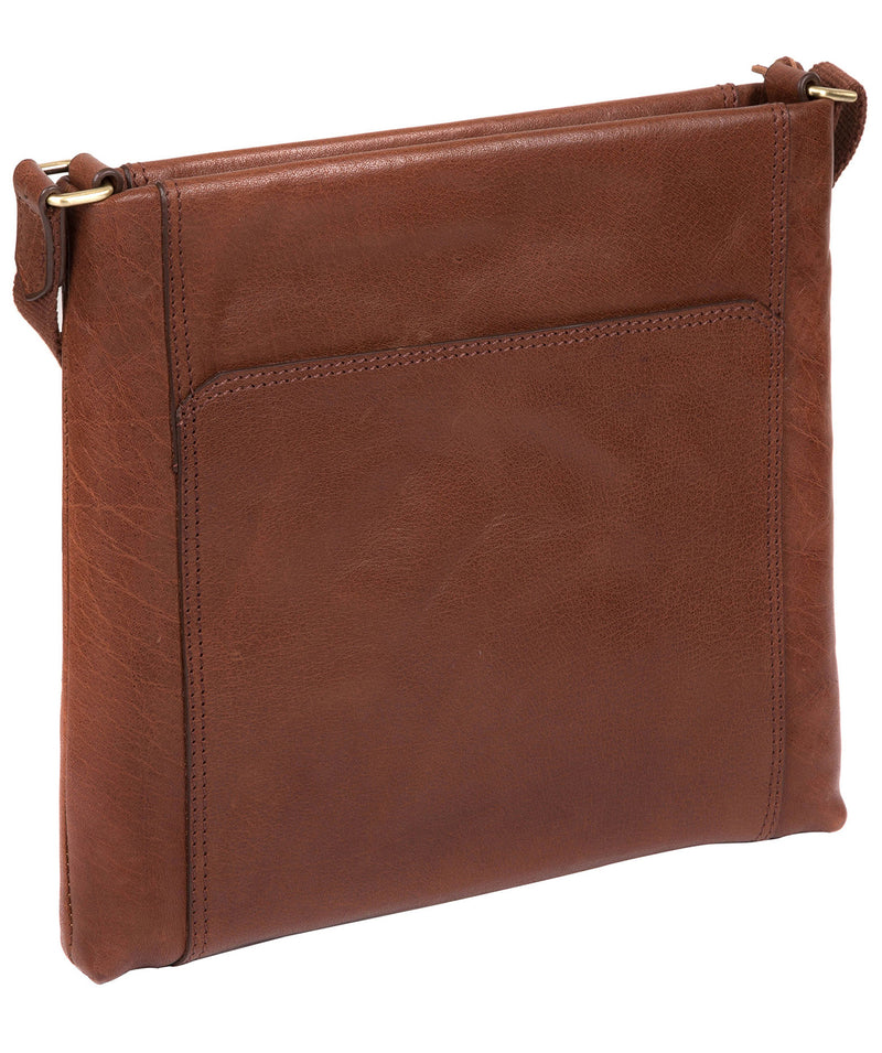 'Lina' Conker Brown Leather Cross Body Bag Pure Luxuries London