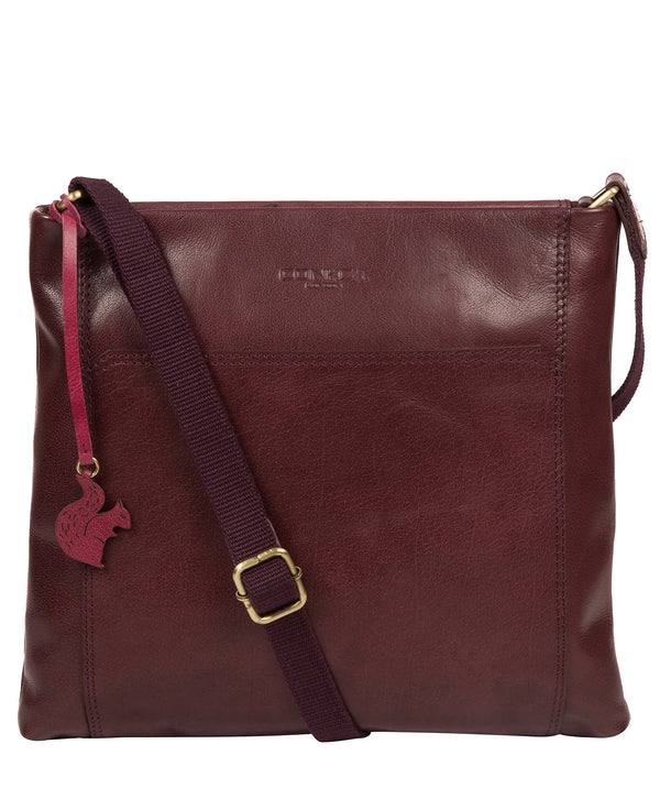 'Lina' Plum Leather Cross Body Bag image 1