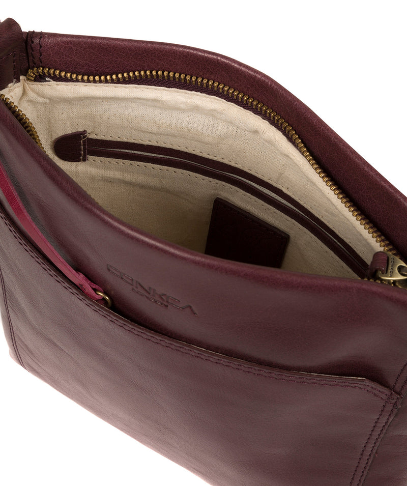 'Lina' Plum Leather Cross Body Bag image 4