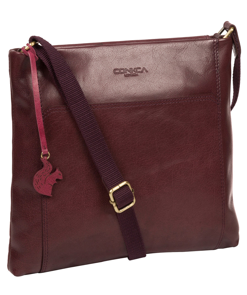 'Lina' Plum Leather Cross Body Bag image 5