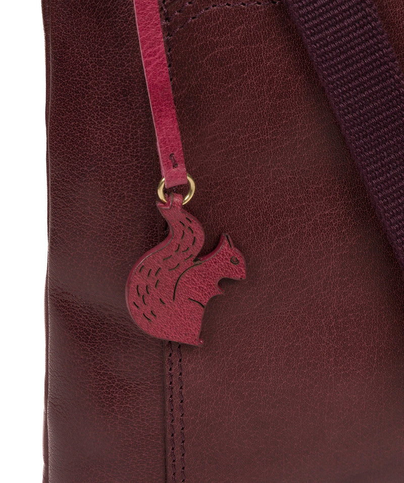 'Lina' Plum Leather Cross Body Bag image 6