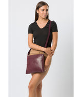 'Lina' Plum Leather Cross Body Bag image 8