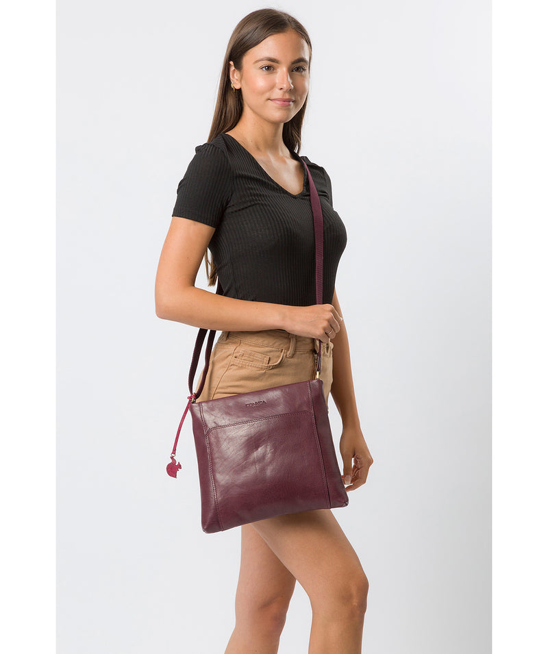'Lina' Plum Leather Cross Body Bag image 2