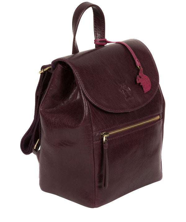 'Simone' Plum Leather Backpack image 3