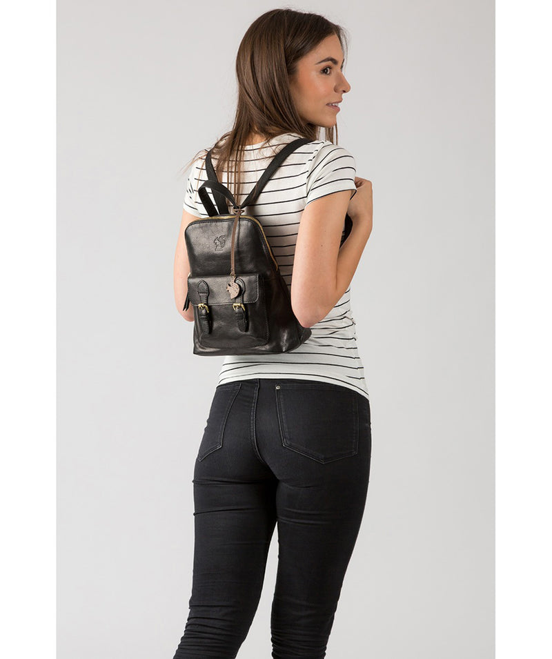 'Kendal' Black Leather Backpack image 2