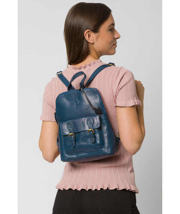 'Kendal' Snorkel Blue Leather Backpack image 2