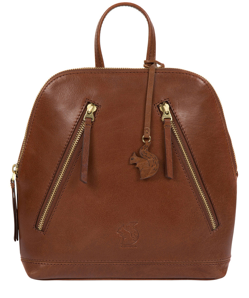'Zoe' Conker Brown Leather Backpack image 1