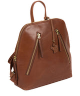 'Zoe' Conker Brown Leather Backpack image 3